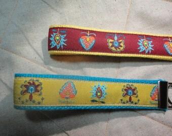 Fun Jacquard Woven Print Ribbon Key Fobs in Red or Yellow print