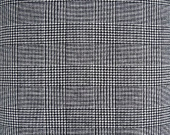 Gray Black Houndstooth Glen Plaid Fabric, Polyester Rayon Blend, Fabric by the Yard