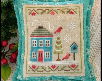 Snow Place Like Home 4 Christmas cross stitch pattern by Country Cottage Needleworks at thecottageneedle.com December