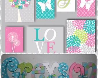 Custom wood letters, Nursery wall letters, Name letters, 7 letter set, Hanging nursery letters, Nursery name sign, Wood letters for nursery