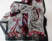 vintage designer silk scarf - Oscar de la Renta, long, paisley, floral, black, red, grey
