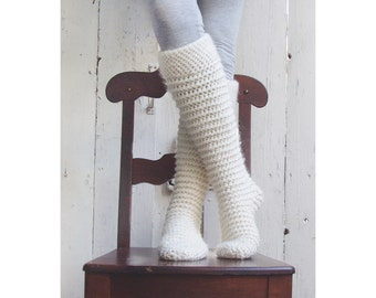 North Pole Knee-High Socks Crochet Pattern - Instant Download Pdf