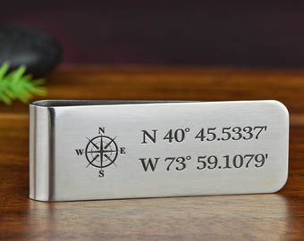 Money Clip, Custom Money Clip, Engraved Money Clip, Stainless Steel Money Clip - Deep engraved with one graphic and ANY TEXT up to 40 Char