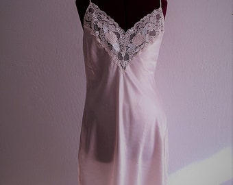 Blush Pink Lace Satin Slip Dress