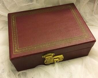 Vintage burgundy jewelry box, travel jewelry box