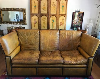 20th Century Well-Worn Down-Cushion Caramel Leather Majestic and Classic Knole Sofa
