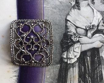 Handmade Antique French purple Ombre Silk Velvet Bracelet w/ Ciseled steel 1800s buckle in half moon shape, sparkle Christmas gift