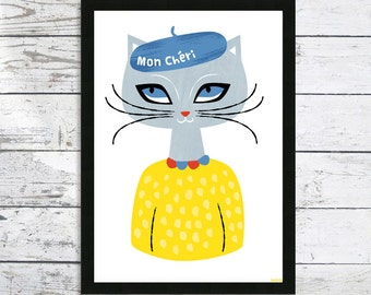 Giclee Cat print - Mon Cheri In a Beret  - Cat Lover gift - Cat art print - Cat prints - Cat picture
