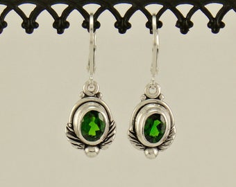 ER561- Sterling Silver Chrome Diopside Earrings- One of a Kind