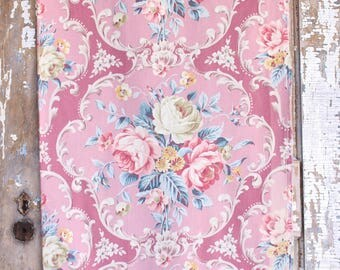 Neoclassical 1930s Scrolled Pink English Cabbage Roses Teal Floral Pattern Vintage Fabric Panel