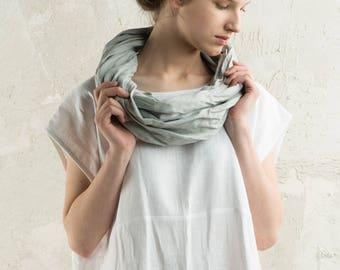 Grey infinity scarf, Dove grey linen scarf, Linen infinity scarf, Dove grey scarf, Natural scarf, Light grey women scarf or linen men scarf