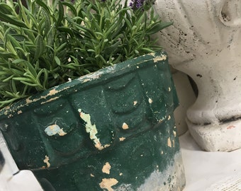 Vintage French Chippy Paint Planter Pot