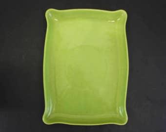 Vintage Lane & Co Lime Green CA Pottery Serving Tray (E8024)
