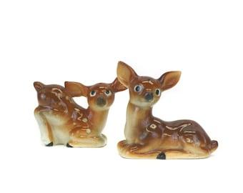Vintage Spotted Deer Salt and Pepper Shakers (E8416)