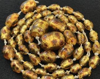Vintage Venetian Murano Art Deco FOIL GLASS NECKLACE - Brown Foil Glass Beads.  Opalescent Lampwork Beads  No.00740