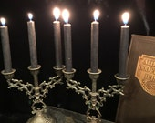 Vintage Italian Candelabras Petite Candle Holders Pair with Black Candles at Gothic Rose Antiques