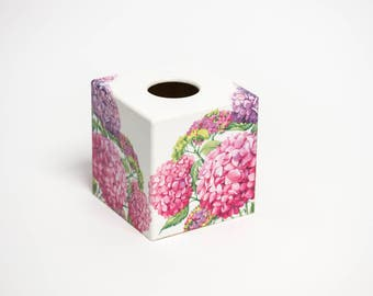 Pink Hydranga Tissue Box Cover wooden handmade in UK