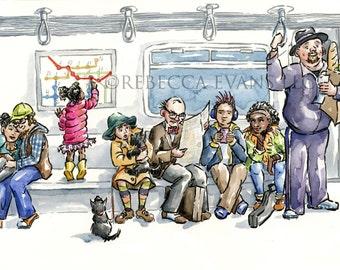 Illustration Art Print of People on Subway 8.5x11