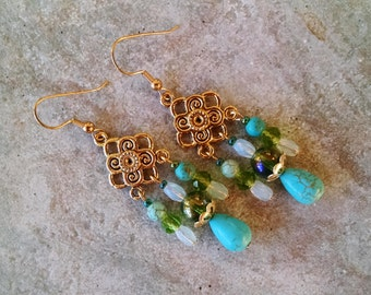 Gold opal turquoise earrings, gold chandelier earrings with opal, turquoise and green glass