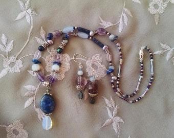 Lapis amethyst opal necklace earring set, Lapis, opal, amethyst pendant statement necklace with amethyst dangle earrings