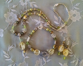 Citrine three piece set, Bohemian gypsy hippie citrine olive pearl peridot silver three piece jewelry set