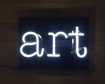 "ART Neon Sign on Gloss Black Acrylic/Perspex 12""x9"" Lighting Wall Decor Vintage Light"