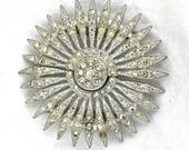 Art Deco 1920's Rhodium Pot Metal Sunburst Flower Art Nouveau Crystal Rhinestone Bridal Belt Buckle