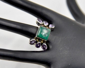 Vintage Indian Chrysocolla & Amethyst Sterling Silver Ring Size 10