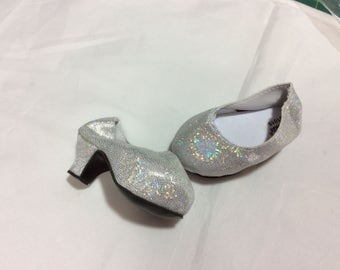 White/silver glitter high heels, doll shoes, fit American Girl, doll clothes