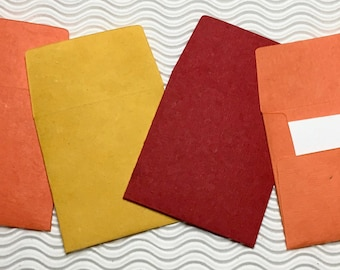 8 teeny tiny envelopes red orange yellow handmade paper miniature note set square stationery party favors weddings guest book table numbers