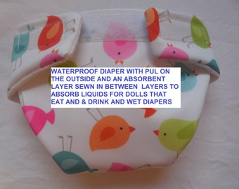 Waterproof to prevent leaking Cloth Doll Diaper size #2 with soaker sewn in PUL tiny birds  fits some baby alive bitty baby baby all gone