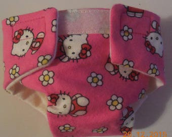 Ready to Ship SIZE #2 cloth Doll Diaper kitty flowers adjusts washable fits bitty baby some baby alive all gone American Girl doll & more