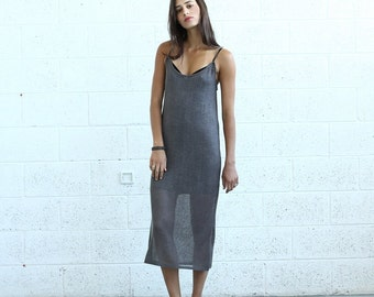 Knitted Tank Dress , Brown.
