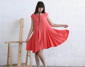 Pre Winter Sale 15% Full Skater Dress-Midi Dress-Coral.