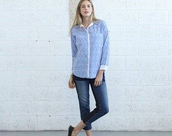 Pre Winter Sale 15% Button shirt with pockets, button up blouse, jacquard shirt.