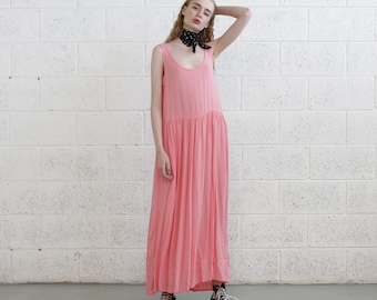Chiffon Maxi dress,Pink summer dress, oversize summer dress, Pink dress
