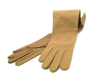 Ladies Gloves. Long Chocolate Brown 100% Cotton Gloves. Made in W Germany. Wear Right Label, Hand Stitched. Vintage 1950s Fashion Accessory