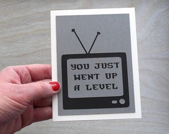 You just went up a level- Gray and black Card with black printed lettering - Cut out TV- Gamer Birthday Card -Blank inside