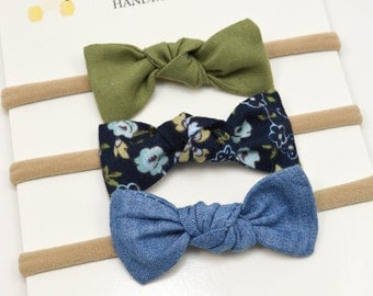 Baby Headbands - Small Knot Bows - Nylon Headbands - Olive Navy Floral Chambray - Knot Bow Baby Clips - Set of Small Bows - Baby Knot Bows