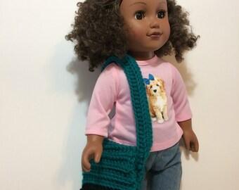 """Messenger Bag, 18"""" doll, crochet"""
