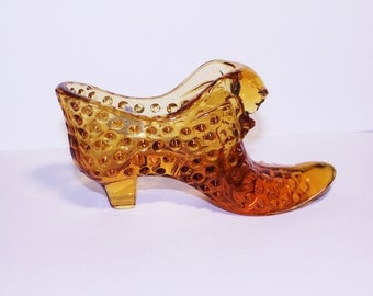 Fenton Hobnail Amber Glass Shoe, Victorian Style Shoe, Vanity Decor, Art Glass Slipper, Shoe Jewelry Holder