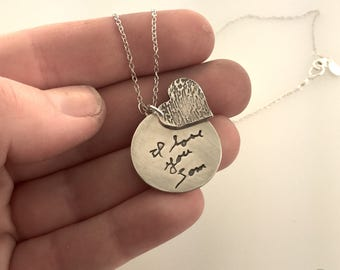 Fingerprint and Actual Handwriting necklace made from actual fingerprint and writing/signature and gem stone