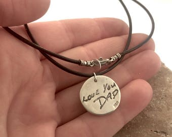 Men's Leather Necklace with Fingerprint/Handwriting Pendant