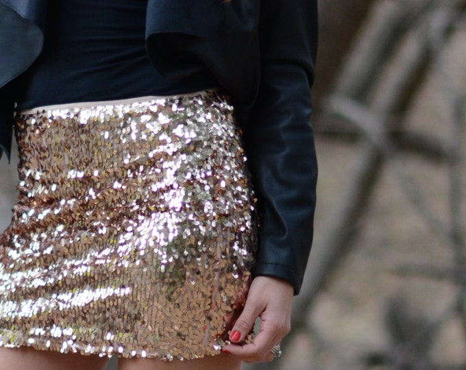 Peach Mini Sequin Skirt - Stretchy, beautiful, fun mini skirt (Small, Medium, Large, XLarge) Ships asap!