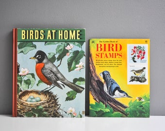 Vintage Pair of Bird Books - Birds at Home and Bird Stamps