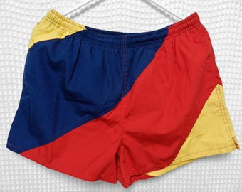 vintage tri color block Swim Shorts 80s 90s red navy yellow Trend Basics Mens M/L lining short beach summer bathing suit