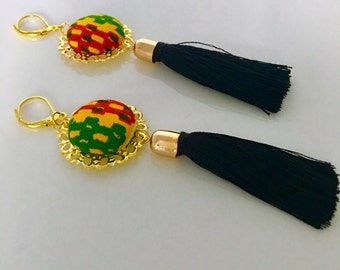 Kente Fabric Button Earrings, African Fabric Earrings, African Print Fabric Jewelry, Gifts Under 20, Anniversary Gifts for Women,