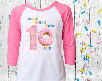 DOUBLE DIGITS Tenth birthday girls birthday 10 year old raglan baseball style tee shirt birthday girl tween shirt