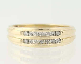 Men's Diamond Ring - 10k Yellow Gold Size 11 1/4 Round Brilliant Cut .25ctw N8893
