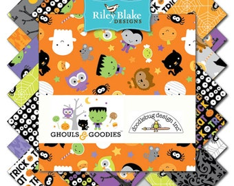 GHOULS & GOODIES 42 Piece 10 Inch Stacker (Layer Cake), 10-5300-42, Doodlebug Designs of Riley Blake